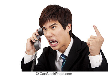 fâché, isolé, téléphone, fond, homme affaires, blanc, crier