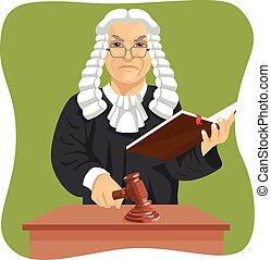 fâché, juge, marques, verdict, pour, droit & loi, frappement, marteau, et, tenue, livre