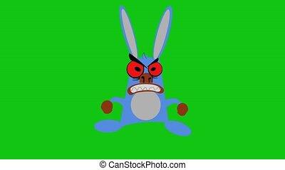 fâché, lapin, animation.