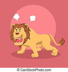 fâché, lion