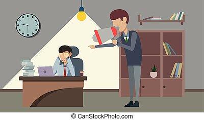 fâché, loudspeaker., employé, cris, patron, mauvais
