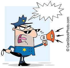 fâché, mâle, officier, police, blanc