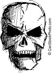 fâché, monstre, crâne