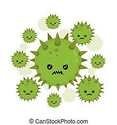 fâché, mouche, mignon, mal, mauvais, germe, virus