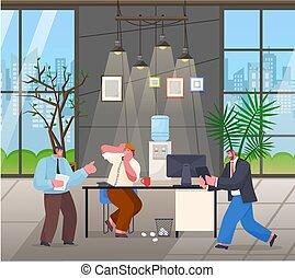 fâché, numérique, jurer, chaos, bureau, employé, courant, patron, ouvrier, table, tablette