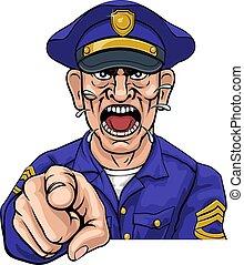 fâché, officier, police, dessin animé, policier