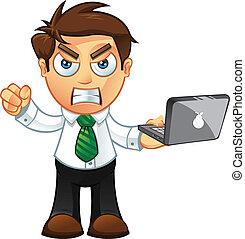 fâché, -, ordinateur portable, homme affaires