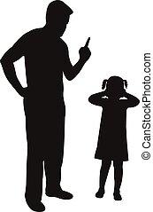 fâché, père, réprimande, fille, sien