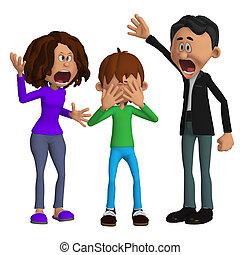 fâché, parents, enfant