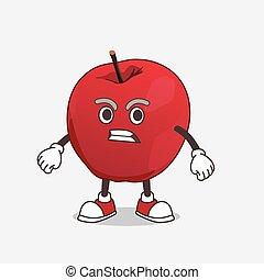fâché, pomme, mascotte, caractère, dessin animé, figure