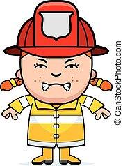 fâché, pompier, girl