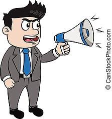 fâché, porte voix, homme affaires
