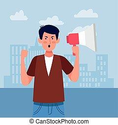 fâché, porte voix, homme, tenue, coloré, protestating, conception