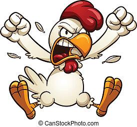 fâché, poulet