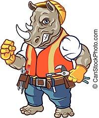 fâché, rhinocéros, mascotte