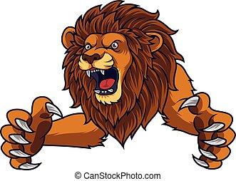 fâché, saut, lion