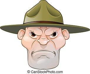 fâché, sergent, foret, dessin animé