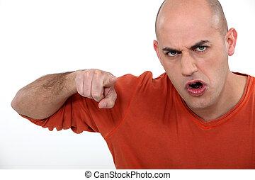 fâché, sien, doigt indique, homme