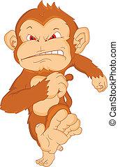 fâché, singe, dessin animé