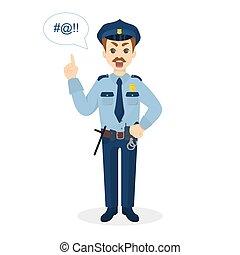 fâché, super, policeman.
