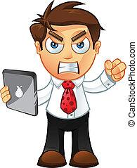 fâché, -, tablette, homme affaires