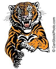 fâché, tigre, saut