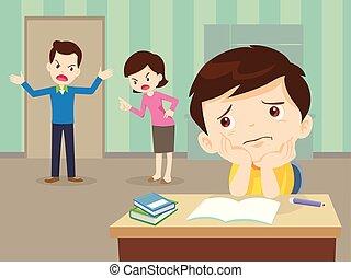 fâché, triste, devoirs, fils, famille, avoir, disputer