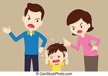 fâché, triste, maman, fils, papa, disputer