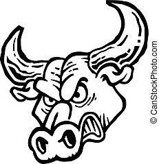 fâché, vecteur, taureau, icône