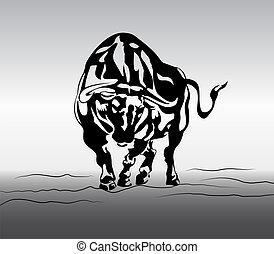 fâché, vecteur, taureau