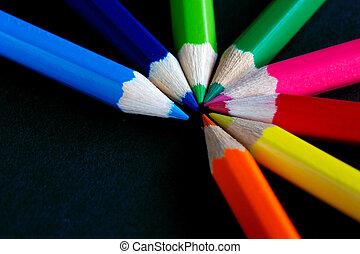 fächer, von, farbe