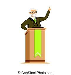 fällig, politiker, stehen, rostrum, und, geben, a, vortrag halten , öffentlichkeit sprecher, zeichen, vektor, abbildung