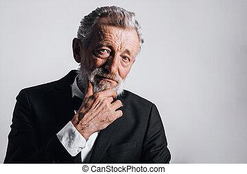 fälliger mann, hintergrund, sicher, porträt, schwarz, freigestellt, closeup, smoking