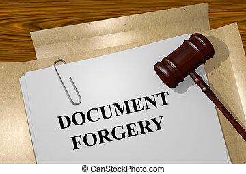 fälschung, begriff, dokument