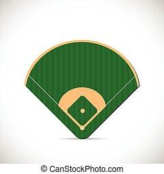 fält, baseball, illustration