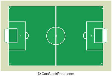 fält, fotboll, vektor, grön