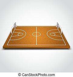 fält, fri, basketboll
