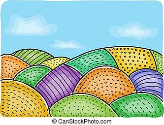 fält, illustration, lantbruk