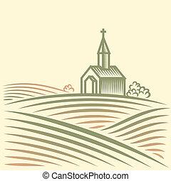 fält, kyrka