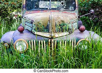 fält, lastbil, övergiven, årgång