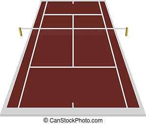 fält, lera uppvakta, tennis