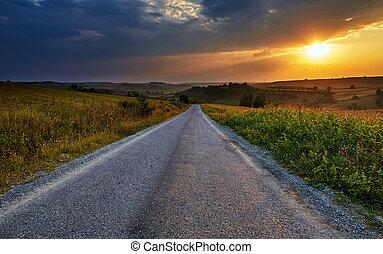 fält, liktorn, genom, solnedgång, väg