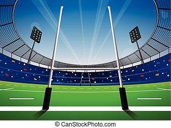 fält, lysande, rugby, stadium.