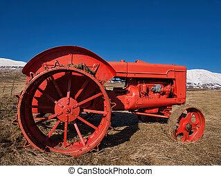 fält, traktor, väl, bevarat, oldtimer