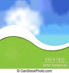 fält, vektor, grön fond