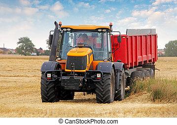 fält, vete, traktor
