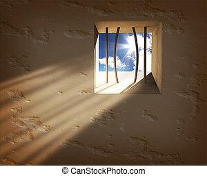 fängelse, fönster., frihet, begrepp
