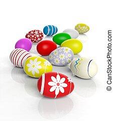 färbte eier, freigestellt, verschieden, weißes, ostern
