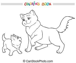 färbung, abbildung, katz, vektor, mutter, kitten., buch