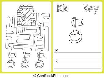 färbung, arbeitsblatt, alphabet, puzzel, -, kinder, ein-z, übungen, buch